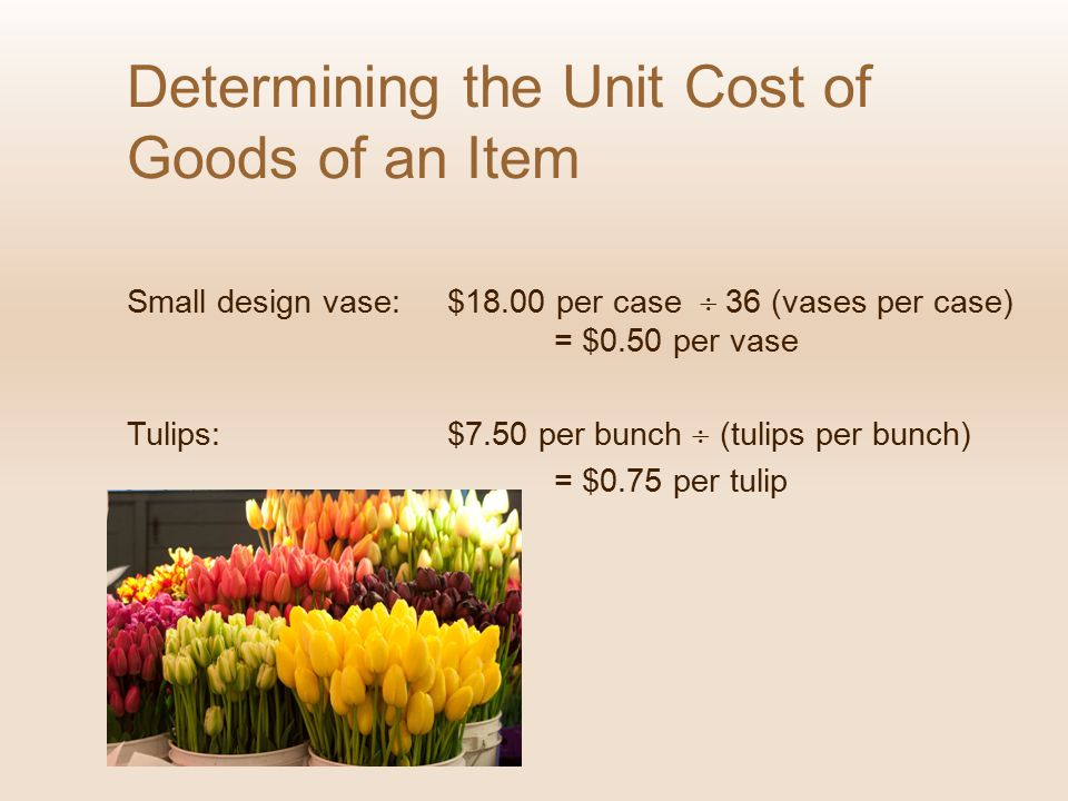 Determining the Unit Cost of Goods of an Item