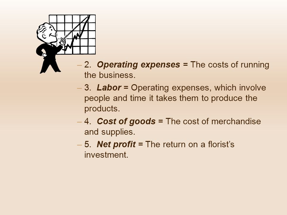 2. Operating expenses = The costs of running the business.