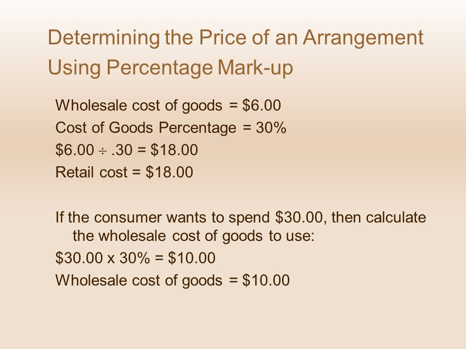 Determining the Price of an Arrangement Using Percentage Mark-up
