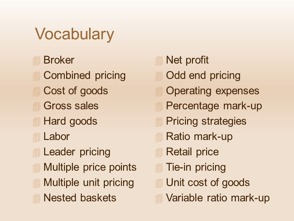 Vocabulary Broker Combined pricing Cost of goods Gross sales