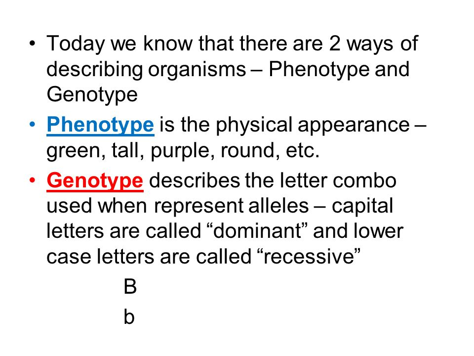 Today we know that there are 2 ways of describing organisms – Phenotype and Genotype
