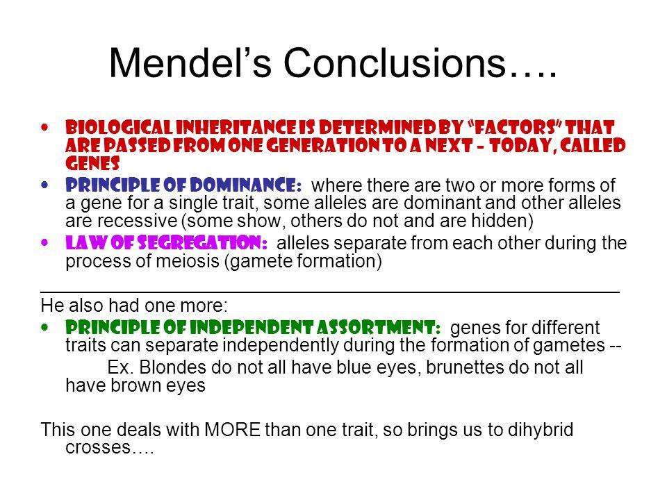 Mendel's Conclusions….