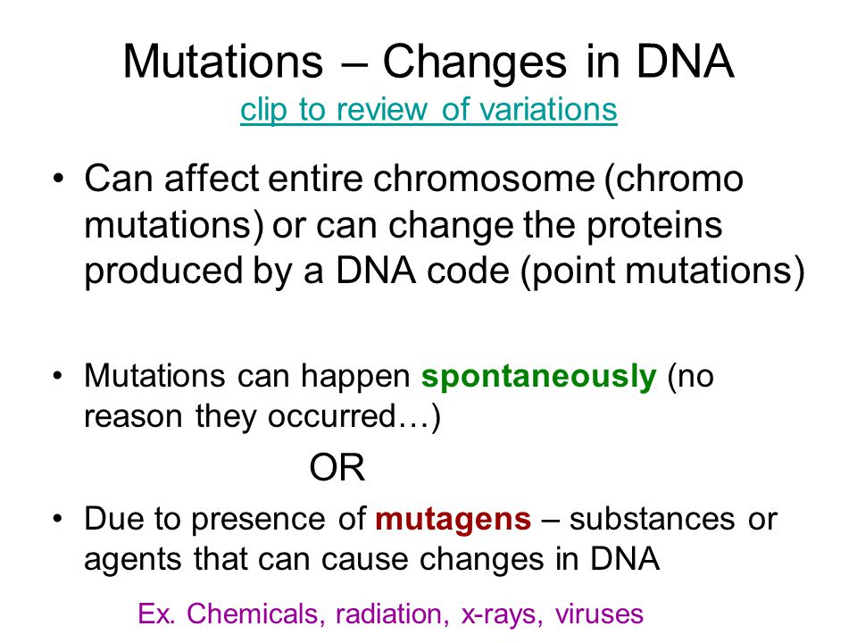 Mutations – Changes in DNA clip to review of variations
