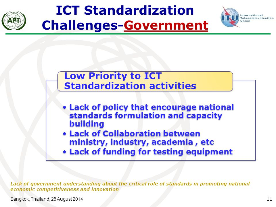 ICT Standardization Challenges-Government