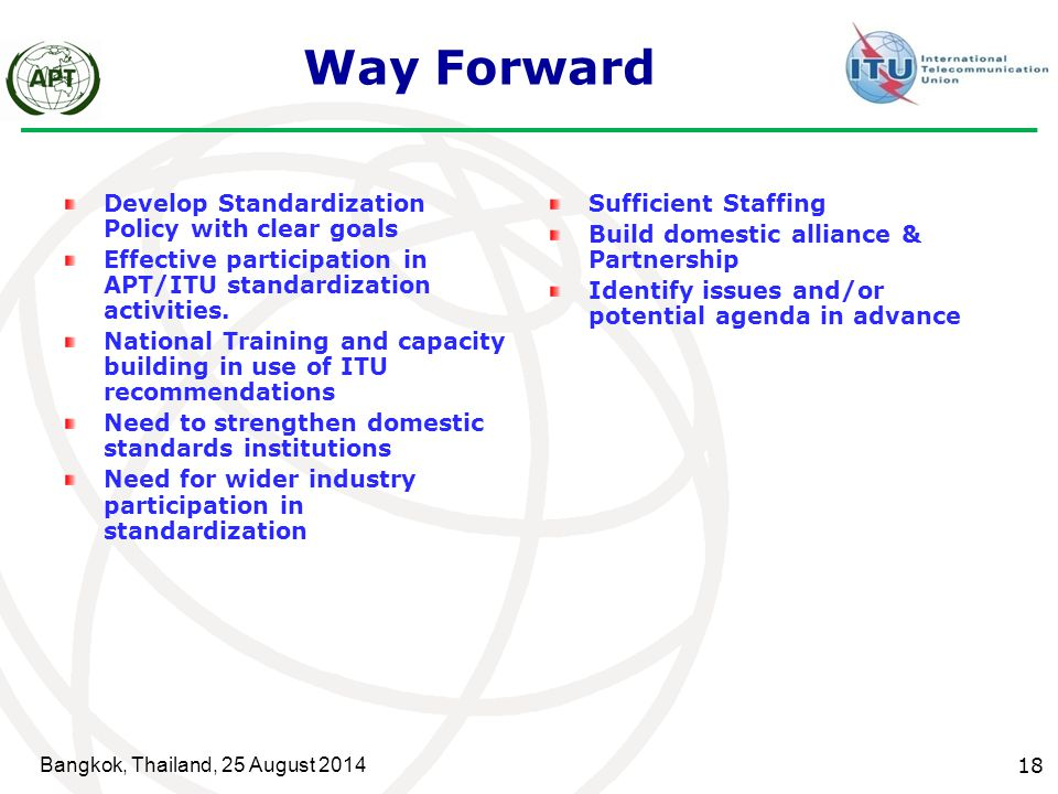 Way Forward Develop Standardization Policy with clear goals