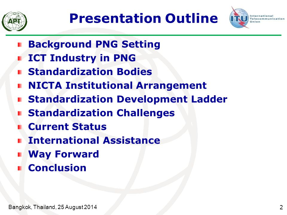 Presentation Outline Background PNG Setting ICT Industry in PNG