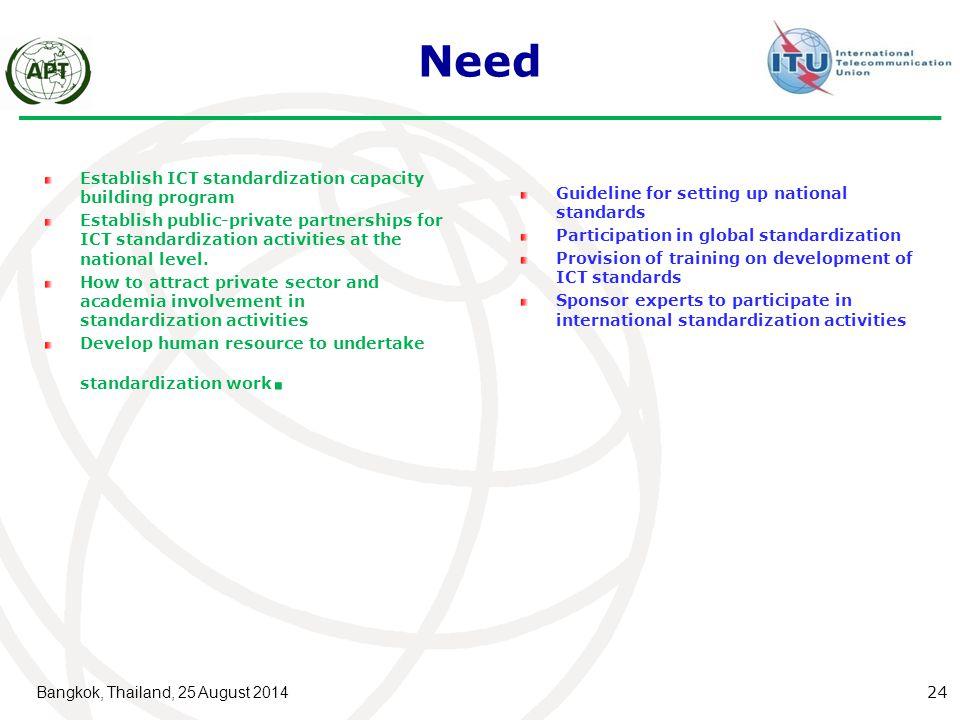 Need Establish ICT standardization capacity building program