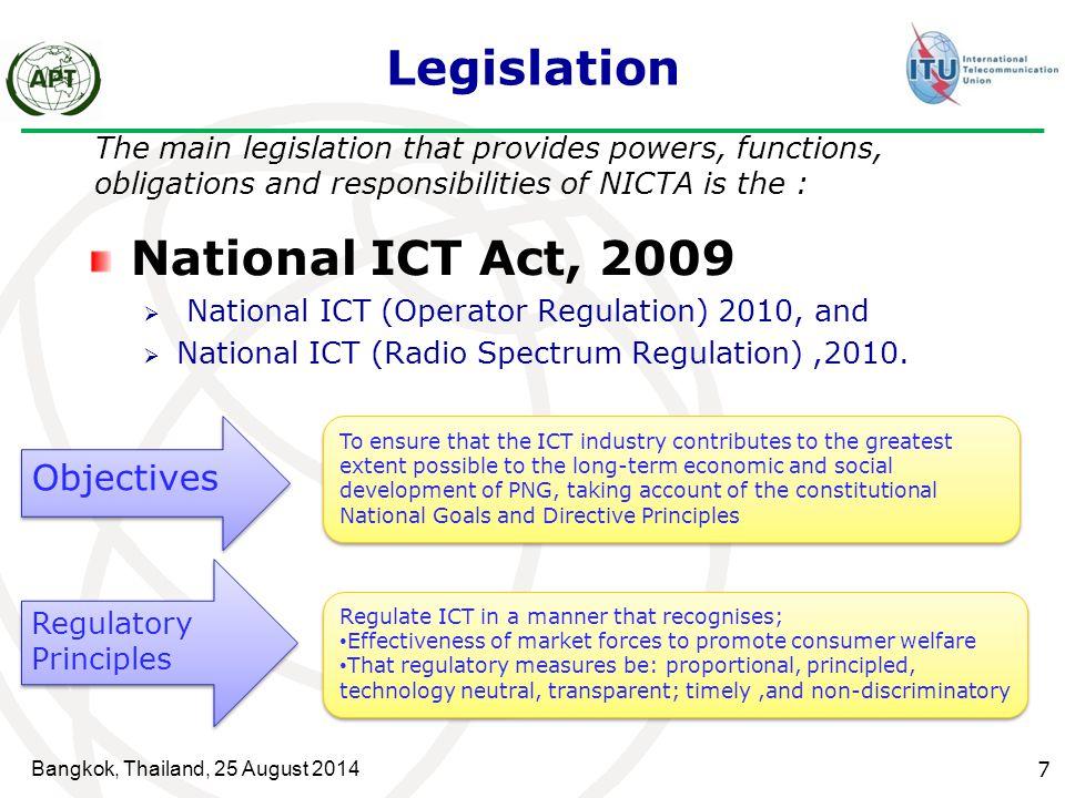 Legislation National ICT Act, 2009 Objectives