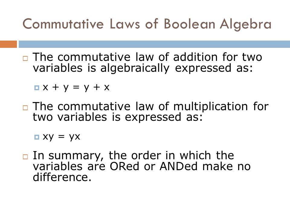 Commutative Laws of Boolean Algebra
