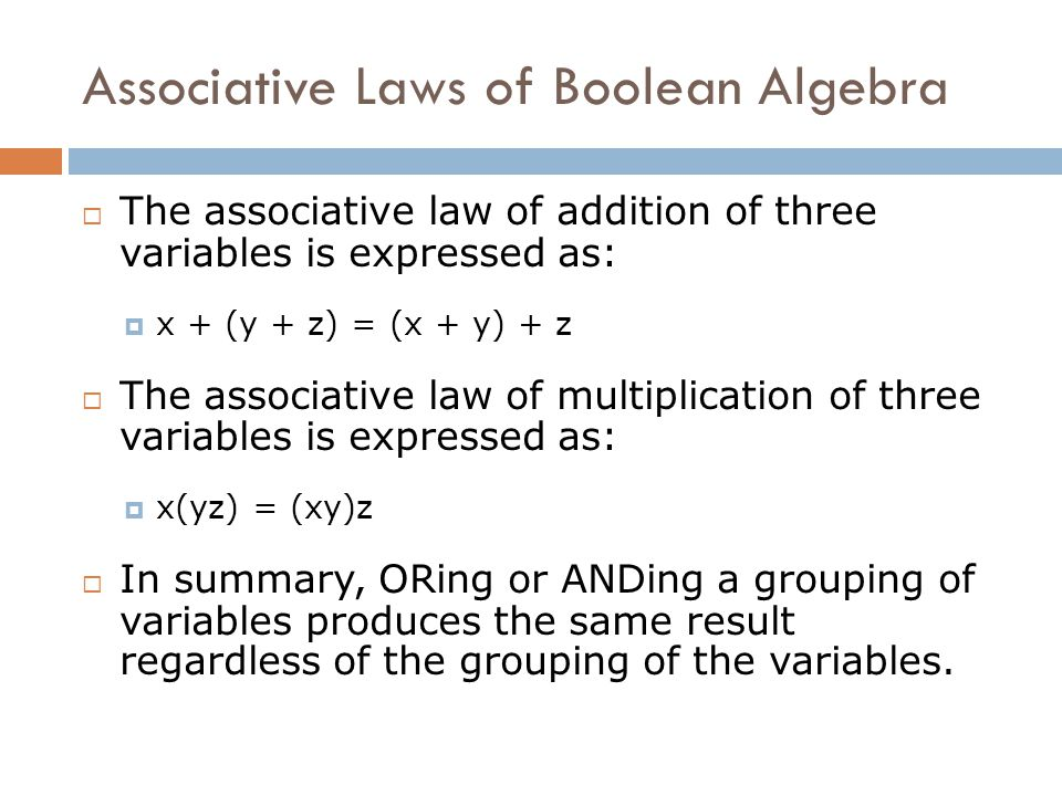 Associative Laws of Boolean Algebra