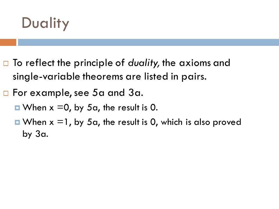 Duality To reflect the principle of duality, the axioms and single-variable theorems are listed in pairs.