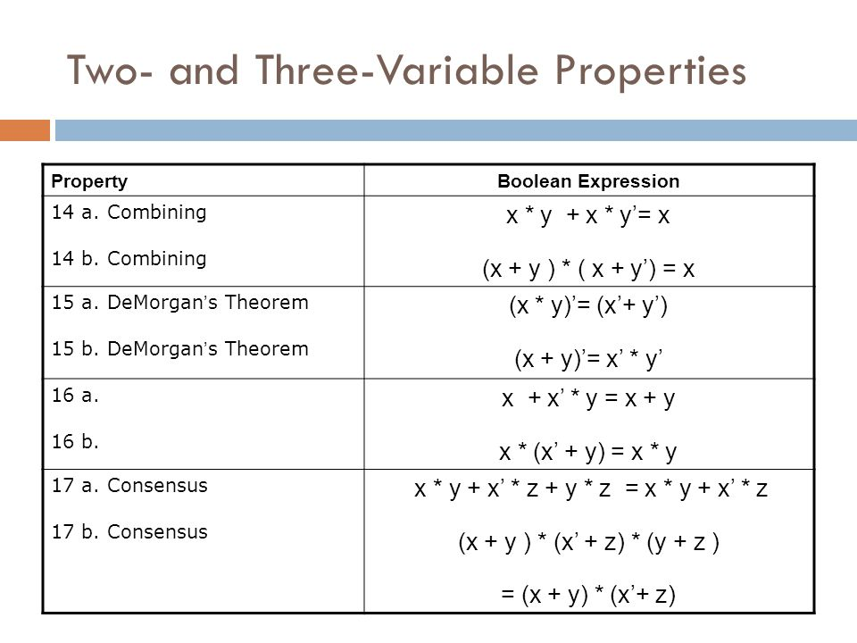Two- and Three-Variable Properties