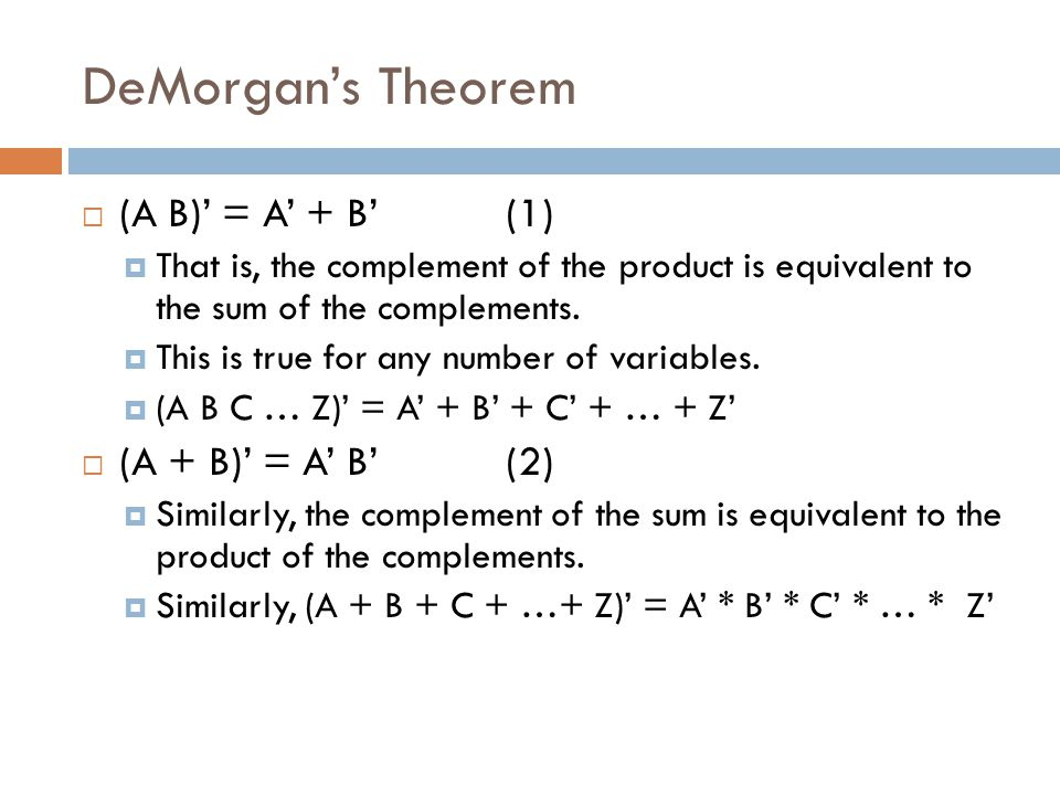 DeMorgan's Theorem (A B)' = A' + B' (1) (A + B)' = A' B' (2)