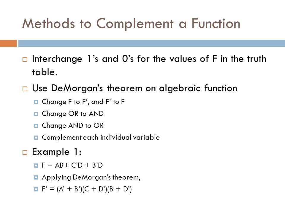 Methods to Complement a Function