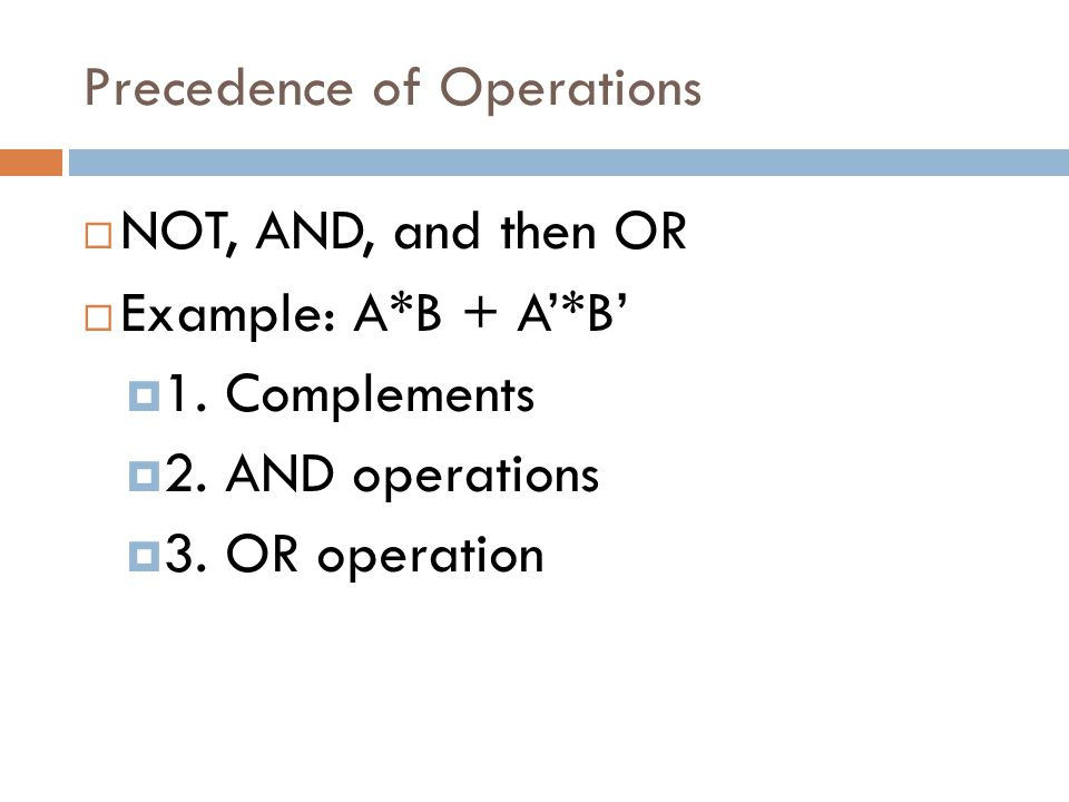 Precedence of Operations