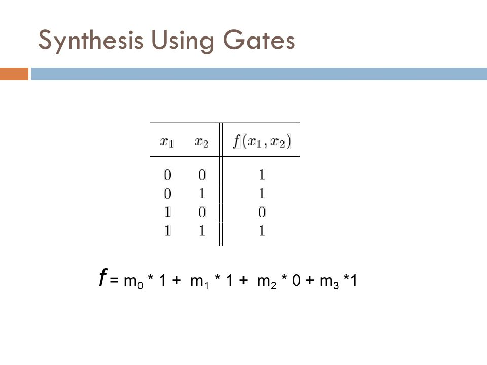 Synthesis Using Gates f = m0 * 1 + m1 * 1 + m2 * 0 + m3 *1