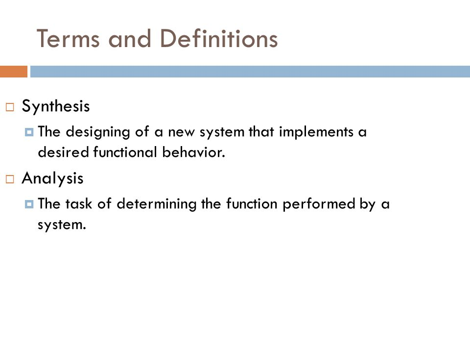 Terms and Definitions Synthesis Analysis