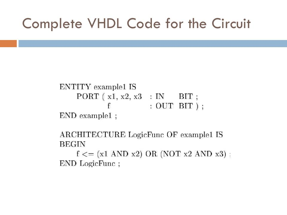 Complete VHDL Code for the Circuit