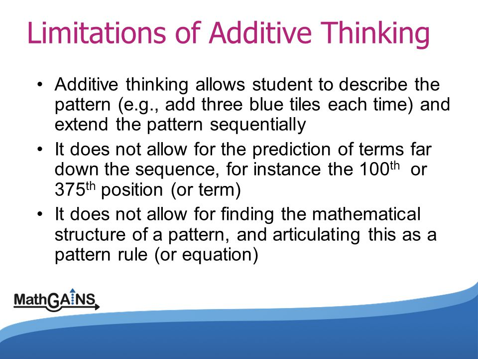 Limitations of Additive Thinking
