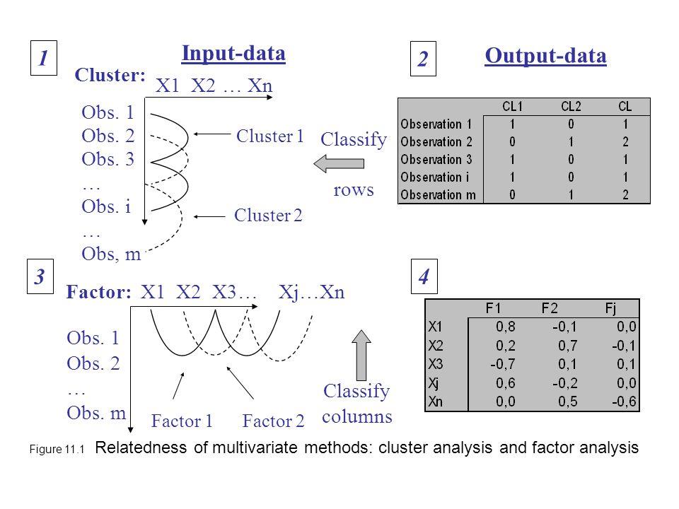 Input-data 1 Output-data 2 3 4 Cluster: X1 X2 … Xn Obs. 1 Obs. 2