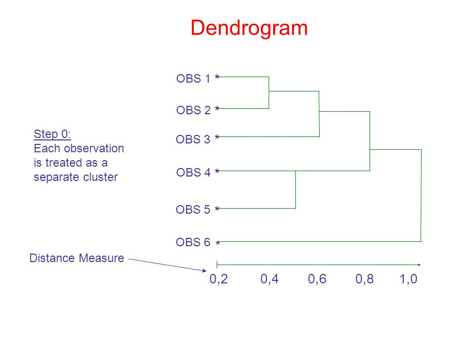 Dendrogram * * * * * * 0,2 0,4 0,6 0,8 1,0 OBS 1 OBS 2 Step 0: OBS 3