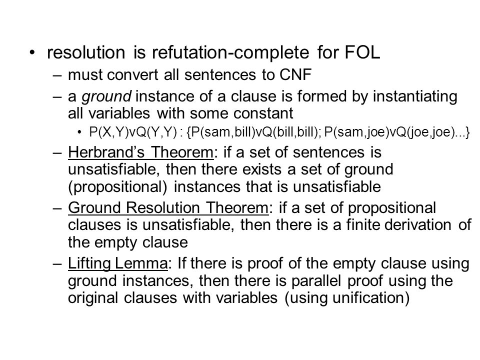 resolution is refutation-complete for FOL