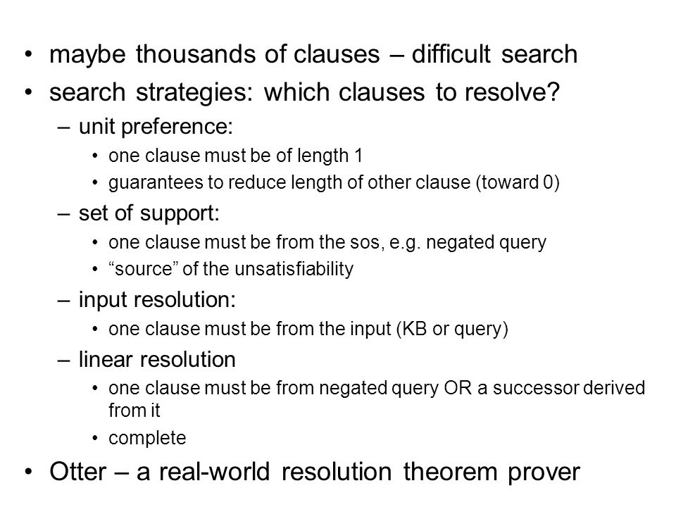 maybe thousands of clauses – difficult search