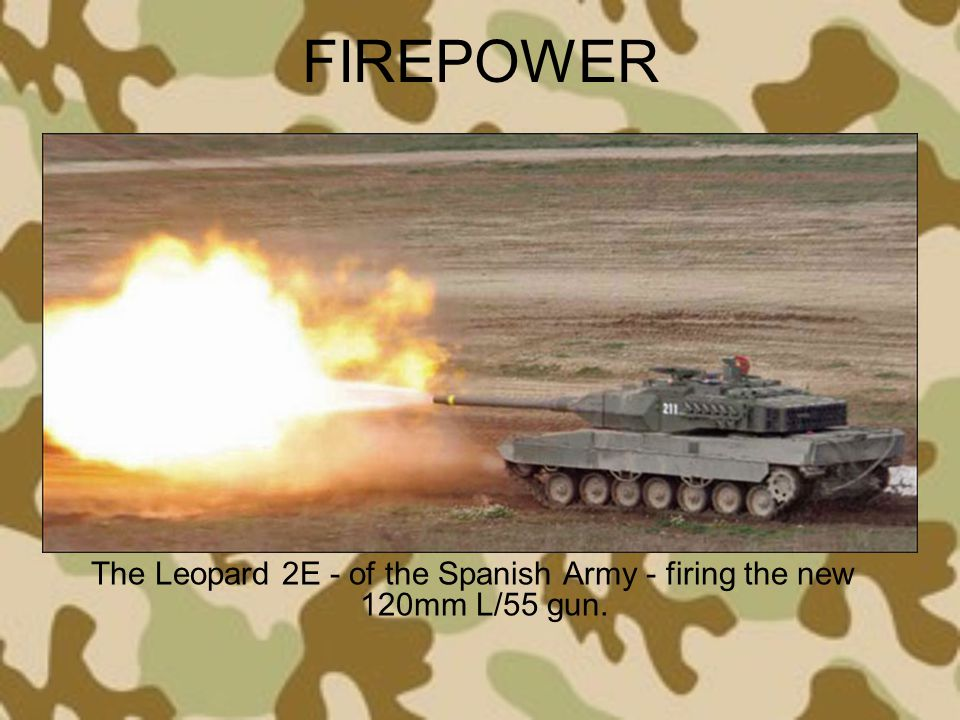 The Leopard 2E - of the Spanish Army - firing the new 120mm L/55 gun.