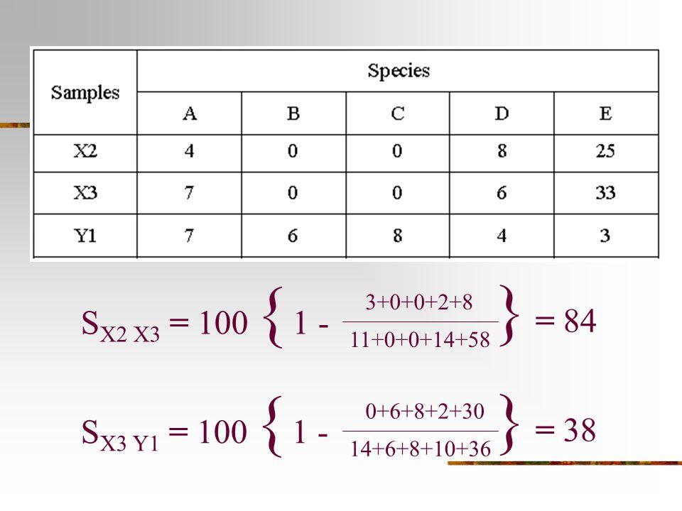 } = 84 } = 38 SX2 X3 = 100 { 1 - SX3 Y1 = 100 { 1 - 3+0+0+2+8