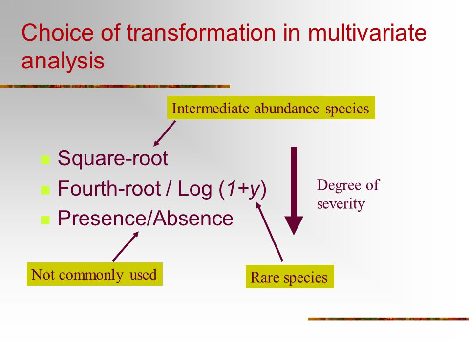 Choice of transformation in multivariate analysis
