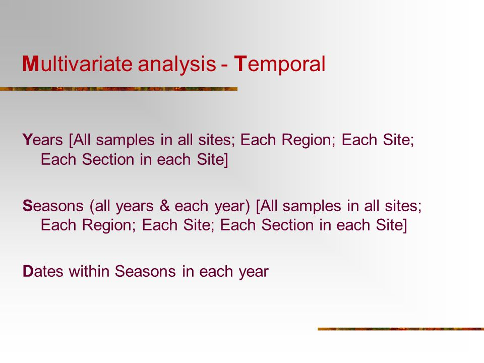 Multivariate analysis - Temporal