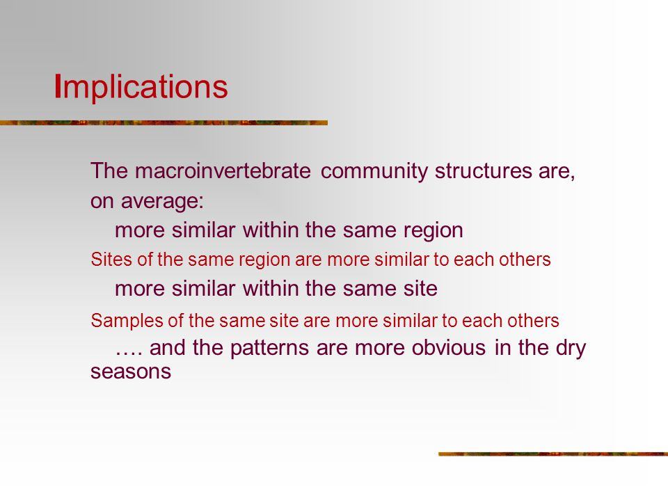Implications The macroinvertebrate community structures are,