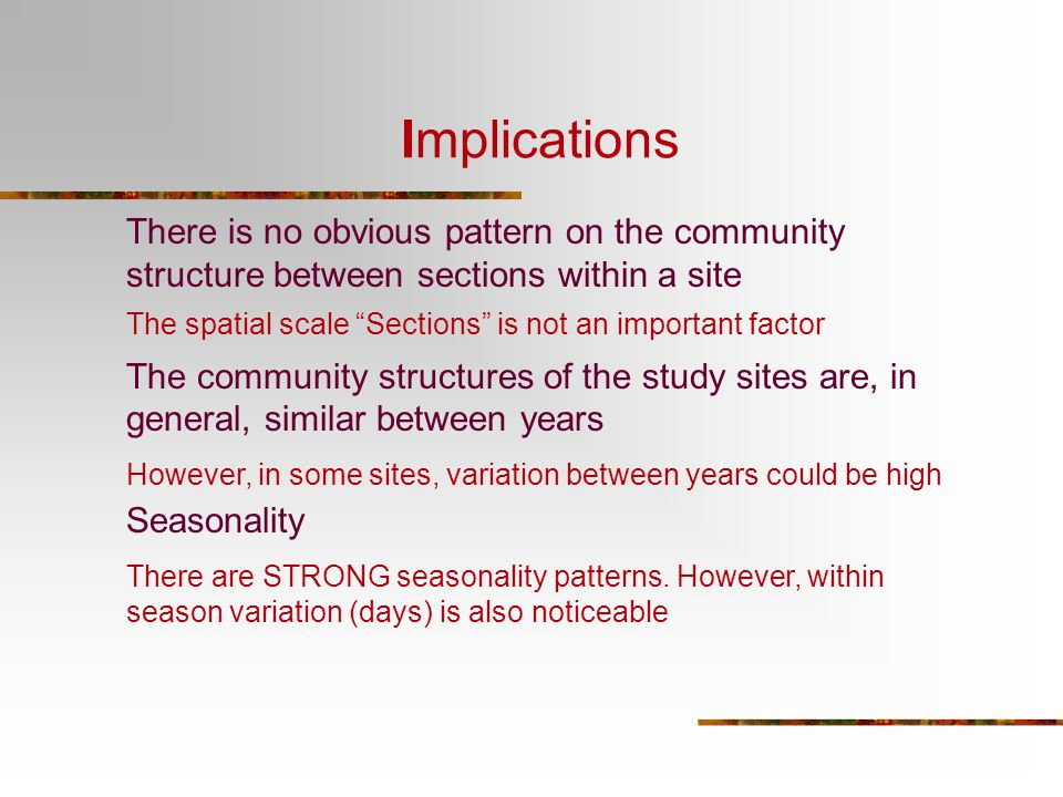 Implications There is no obvious pattern on the community structure between sections within a site.