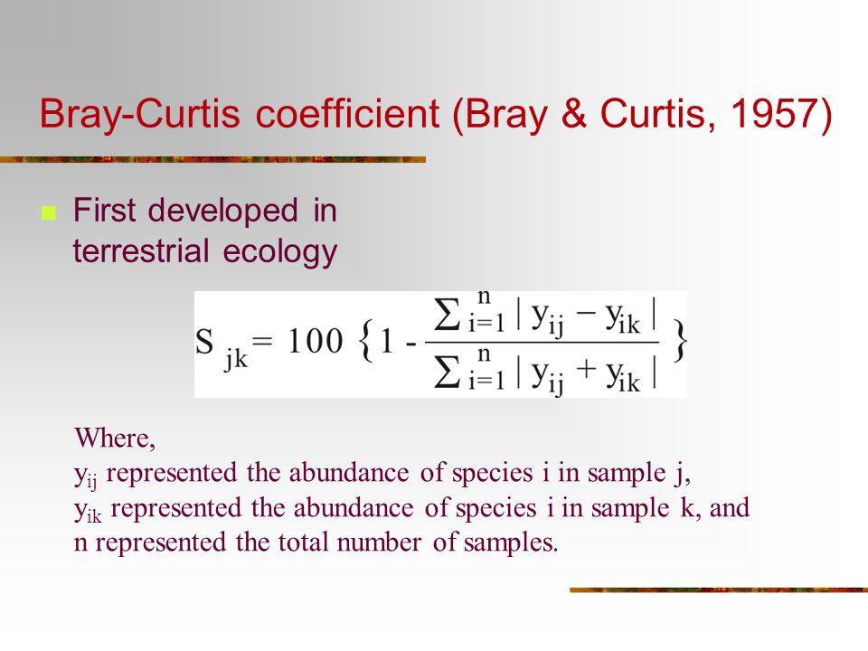 Bray-Curtis coefficient (Bray & Curtis, 1957)