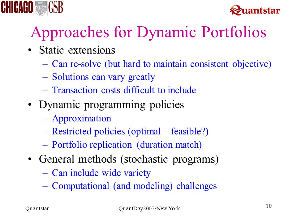 Approaches for Dynamic Portfolios