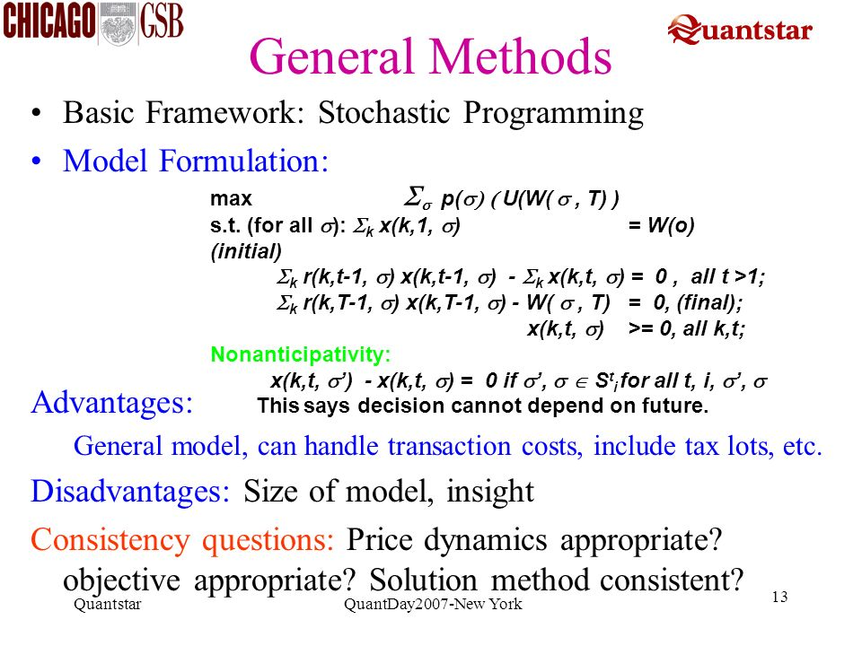 General Methods Basic Framework: Stochastic Programming