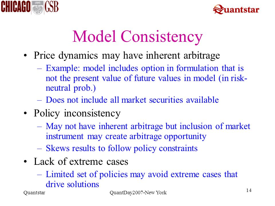 Model Consistency Price dynamics may have inherent arbitrage