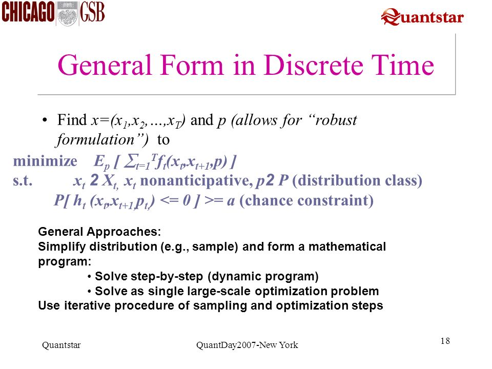 General Form in Discrete Time