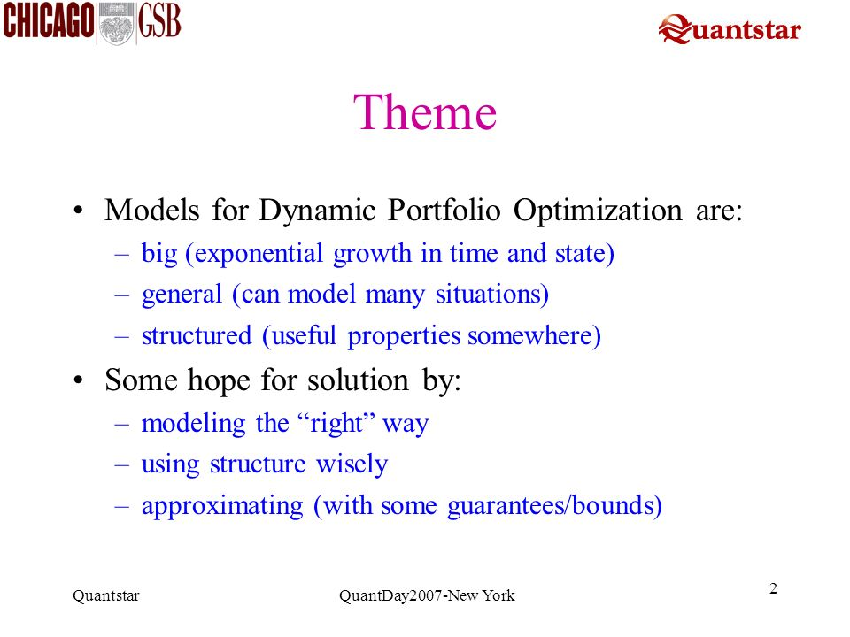 Theme Models for Dynamic Portfolio Optimization are: