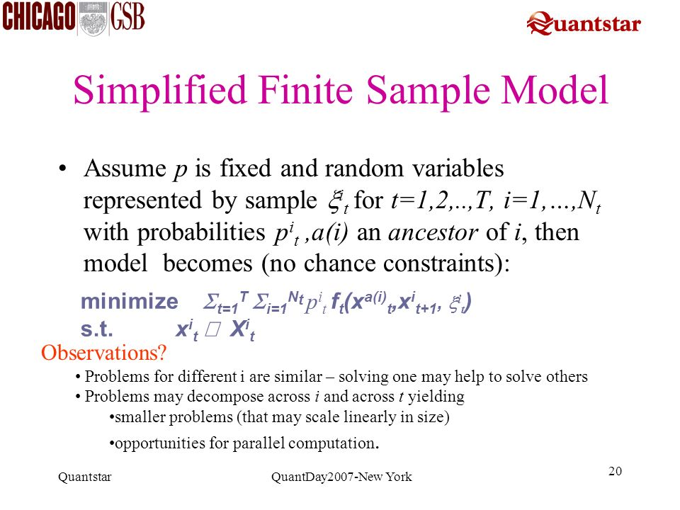 Simplified Finite Sample Model