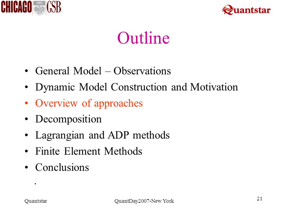 Outline General Model – Observations