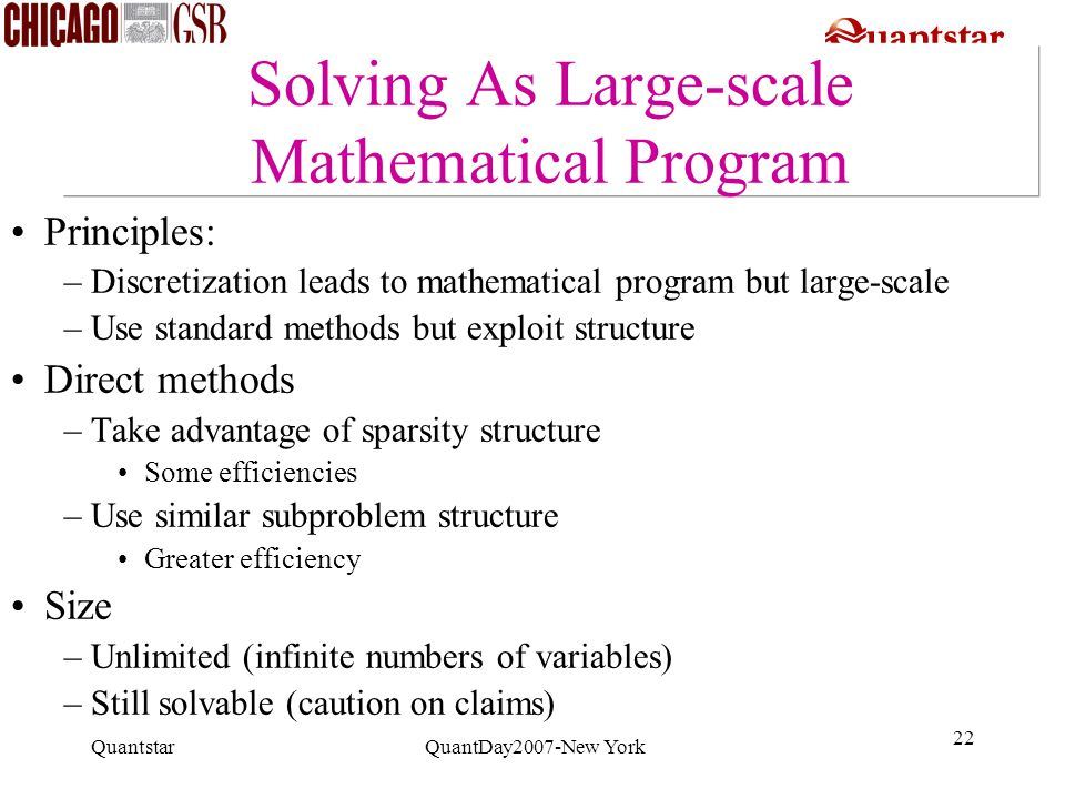 Solving As Large-scale Mathematical Program