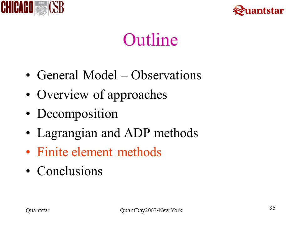 Outline General Model – Observations Overview of approaches