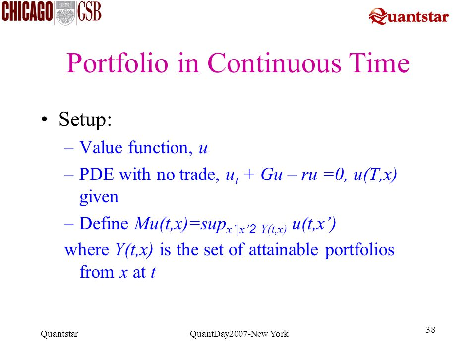 Portfolio in Continuous Time