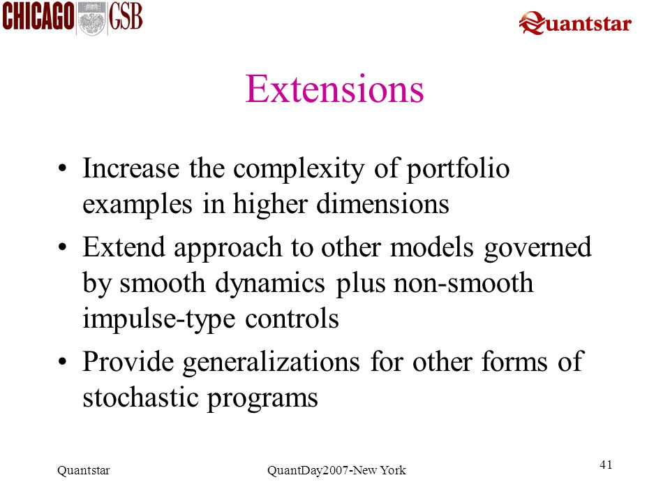 Extensions Increase the complexity of portfolio examples in higher dimensions.