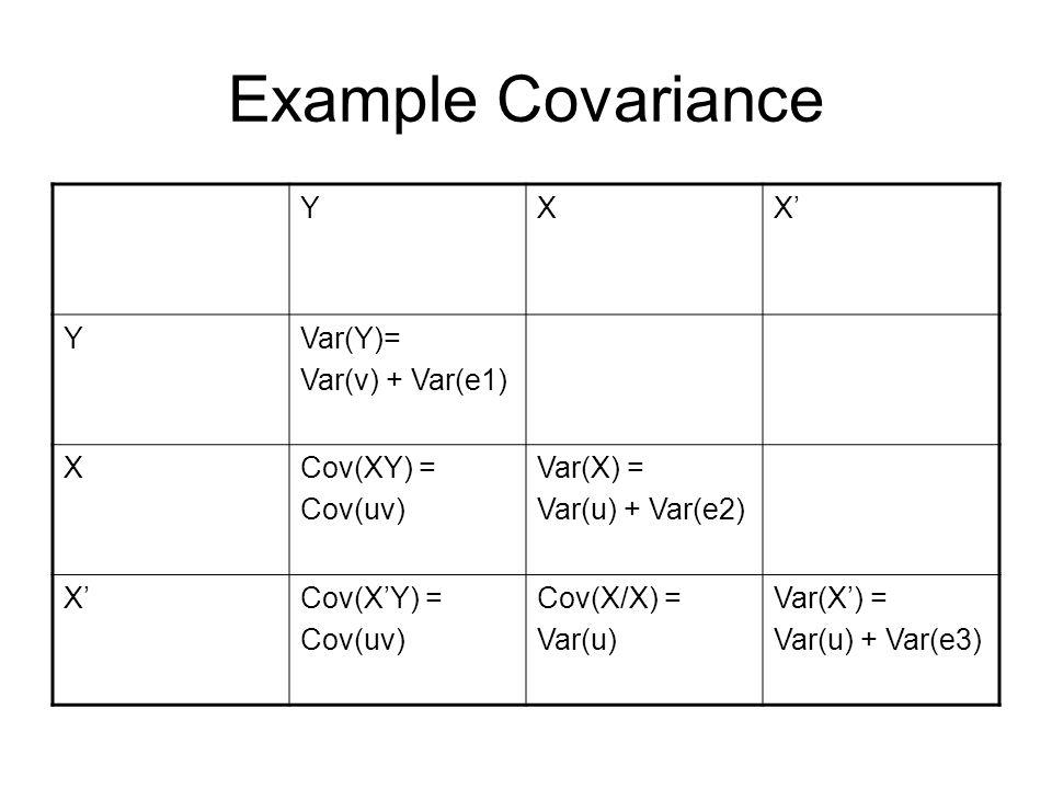 Example Covariance Y X X' Var(Y)= Var(v) + Var(e1) Cov(XY) = Cov(uv)