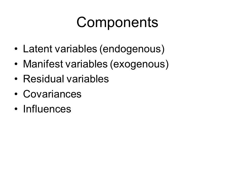Components Latent variables (endogenous)