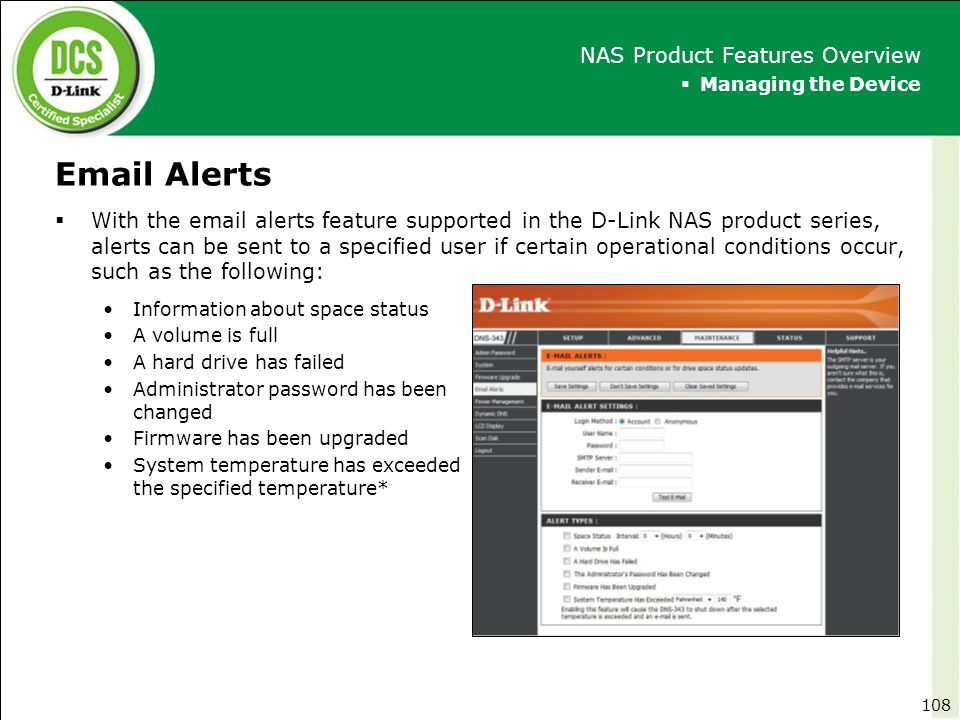Email Alerts NAS Product Features Overview