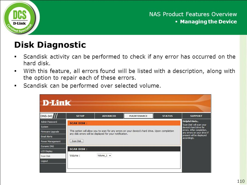 Disk Diagnostic NAS Product Features Overview