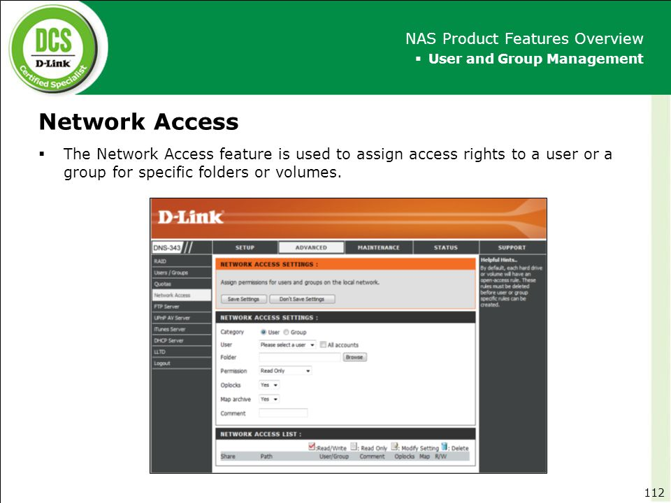 Network Access NAS Product Features Overview